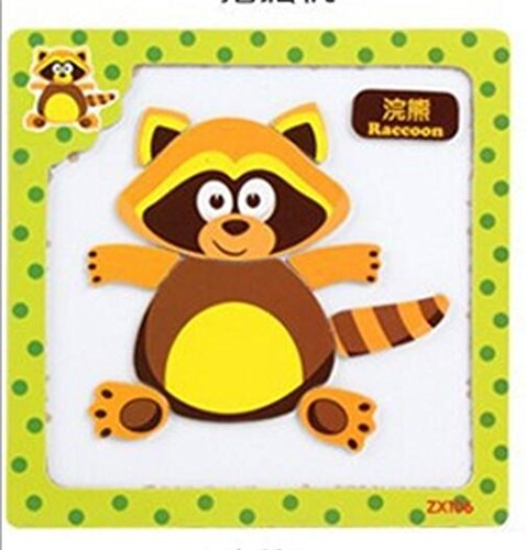 Chusea Interesting Wooden Jigsaw Creative Wooden Peg Magnetic Puzzle Education Toy Fantastic Gifts For Kids(Raccoon) ()
