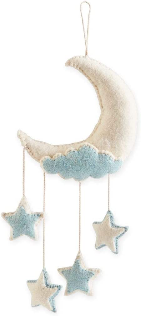Mud Pie Baby Room Nursery Decor Felt Twinkle Twinkle Little Star Moon Wall Hanging 12000020 (Blue)
