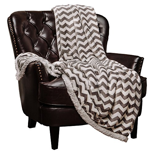 Chanasya Super Soft Ultra Plush Cozy Fluffy Warm Chevron Print Modern Contemperary Design Velvet Fleece Front and Fuzzy Sherpa Back Microfiber Throw Blanket (60