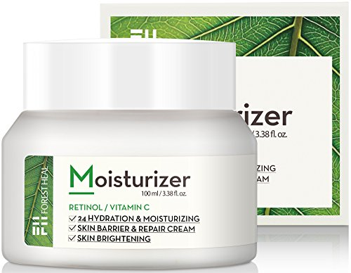 Face Moisturizer Retinol Cream - Moisturizes Dry Skin - Day or Night 24 Hour Hydrating and Anti Aging Wrinkle Cream - Forest Heal - 3.38 fl.oz.