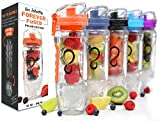 water bottle freezer - Live Infinitely 32 oz. Infuser Water Bottles - Featuring First Ever Gel Freezer Ball Infusion Rod, Flip Top Lid, Larger Dual Hand Grips & Recipe Ebook Gift (Orange Polar Edition, 32 Ounce)
