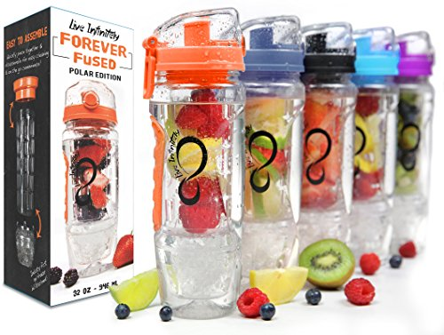Live Infinitely 32 oz. Infuser Water Bottles - Featuring First Ever Gel Freezer Ball Infusion Rod, Flip Top Lid, Larger Dual Hand Grips & Recipe Ebook Gift (Orange Polar Edition, 32 Ounce)