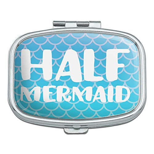 Half Mermaid with Blue Scales Rectangle Pill Case Trinket Gift ()
