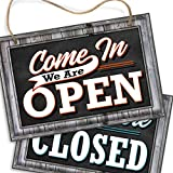 Open Closed Sign for Business Door | Reversible Double Sided with Rope for Hanging | Come in We're Open Sorry We're Closed Signs Decor | 1/4'' PVC 8'' x 12'' | Rustic Wood Frame Look Printed Design