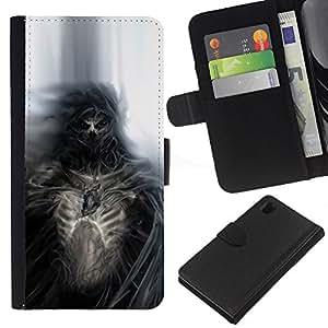 LECELL--Cuero de la tarjeta la carpeta del tirón Smartphone Slots Protección Holder For Sony Xperia Z1 L39 -- Gothic Skull Skeleton Diablo Demonio --