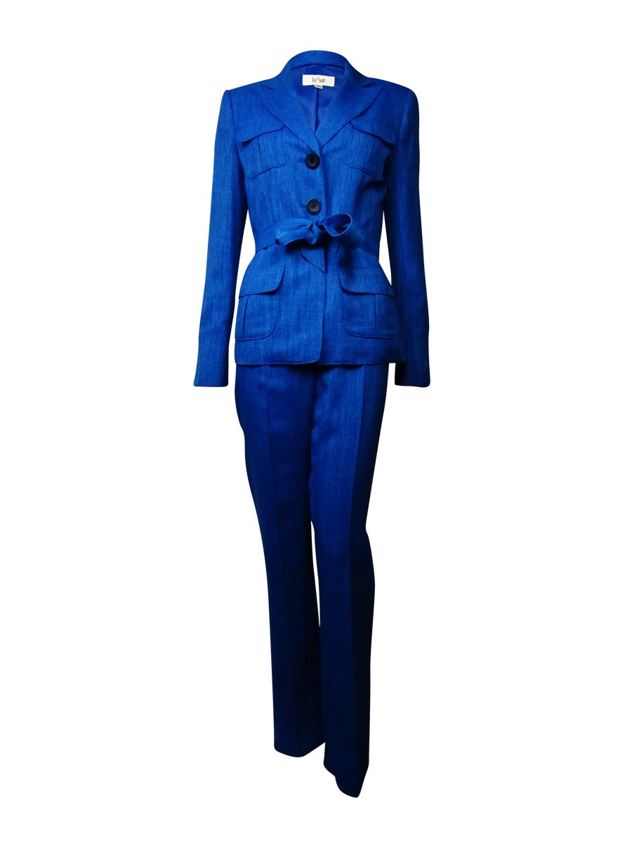 Le Suit Women's 3 Button Jacket and Pant Suit with Scarf, Sea Blue, 4