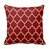 Burgundy Red and Tan Moroccan Quatrefoil Design Pillow Classic Chevron Stripes Pattern for Decoration Zipper Pillow Case Cover