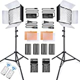 SAMTIAN LED Video Light 600 LED Camera/Studio Light Kit CRI95 3200K/5600K Camcorder Light Kit with Barndoors 75 inches Light Stand Batteries and Remote Camera Photo Light for Studio Photography