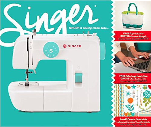 "SINGER | Start 1234 Portable Sewing Machine with 6 Built-in Stitches â€"" Built-in 4-Step Buttonhole, White/Teal and Free Online Owner's Class Video"