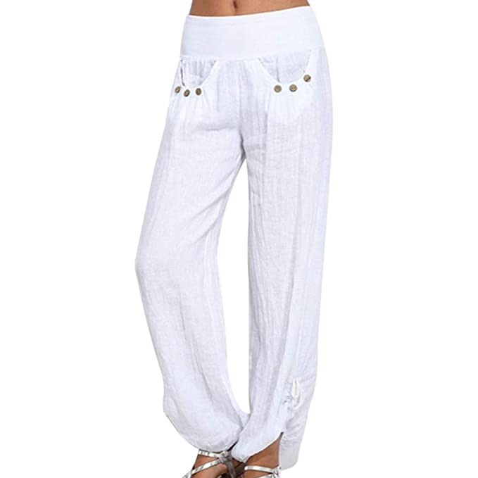 b2a148dc05662b Kword Pantaloni Donna Elegante Solido Pulsanti Cotone Lino Pantaloni Casual  Sciolto Pantaloni Larghi Gamba da Donna