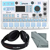 Arturia SparkLE Hardware Controller and Software Drum Machine and Basic Bundle w/ Resident Audio R100 Headphones + Fibertique Cleaning Cloth