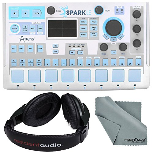 Arturia Sparkle Hardware Controller and Software Drum Machine and Basic Bundle w/Resident Audio R100 Headphones + Fibertique Cleaning ()