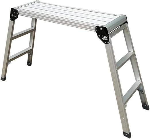 Xsgsgfs Escaleras Plegables peldaños, Escalera de Plataforma Plegable de Trabajo multipropósito con Escalera de Trabajo Escalera de Banco de Aluminio con Plataforma Antideslizante: Amazon.es: Hogar