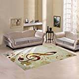 D-Story Sweet Home Art Floor Decor Music Note Area Rug Carpet Floor Rug 7'x5' For Living Room Bedroom
