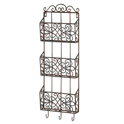 Black Iron Triple Wall Rack with Hooks ()