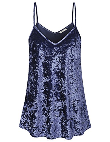 SeSe Code Velvet Tops for Women Cami Tank V-Neck Spaghetti Strap Party Work Shirt Aesthetic Pleats Layering Solid Color Flowy Hem Camisole Tunic Navy Blue M ()