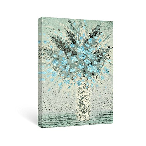 SUMGAR Paintings for Bedroom Ready to Hang Flower Turquoise Floral Print on Canvas