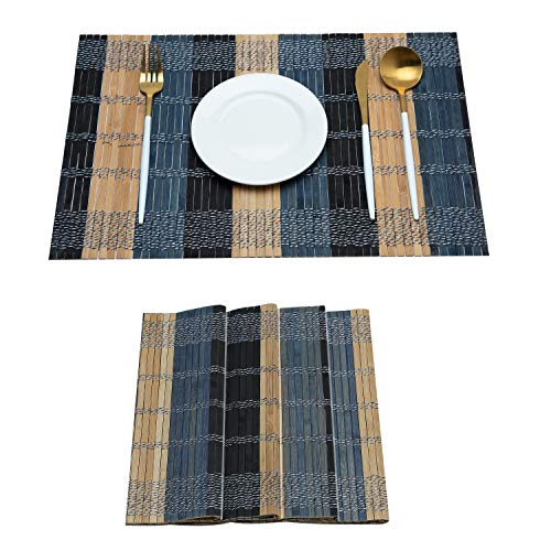 (mijia Placemat 6 Piece Set Woven Bamboo Woven Insulation Anti-Slip Non-Slip Kitchen Table Decoration ,Pine Green)