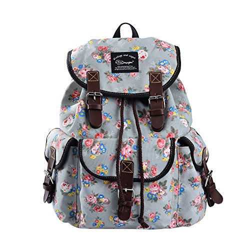 Epokris Teen Girls School Bookbag Rucksack Casual Daypack Floral Backpack for Elementary 297A (Grey-2)