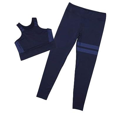 Sexy Empalme de Las Mujeres Halter Yoga Pantalones Trajes Sport Wrap Chaleco + pantalón de Fitness Set Yoga Cross Strap Ropa Deportiva 2 unids/Set: ...