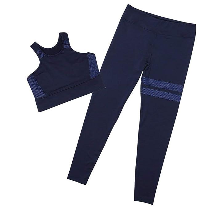 Sexy Empalme de Las Mujeres Halter Yoga Pantalones Trajes Sport Wrap  Chaleco + pantalón de Fitness Set Yoga Cross Strap Ropa Deportiva 2  unids Set  ... 85309b180740