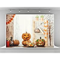 7x5ft-2.2x1.5m Cute Pumpkin Photo Background With Wooden Floor White Brick Wall Backdrop Booth for Happy Halloween Photography (Soft Fabric)