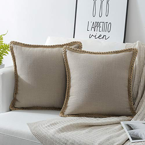 Beige Pillow - Phantoscope Pack of 2 Farmhouse Burlap Linen Trimmed Tailored Edges Throw Pillow Case Cushion Covers Beige 18 x 18 inches 45 x 45 cm