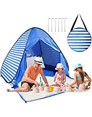 Easy Pop Up Beach Tent 2-3 Person Sun Shelter Lightweight Family Beach Shade UPF 50+ Anti UV Portable Beach Umbrella Automatic Instant Sunshade Cabana Canopy with Carry Bag for Baby Adults Family