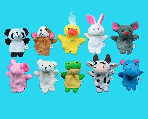 zorvo Soft Plush Animal Finger Puppet Set (10 Piece)