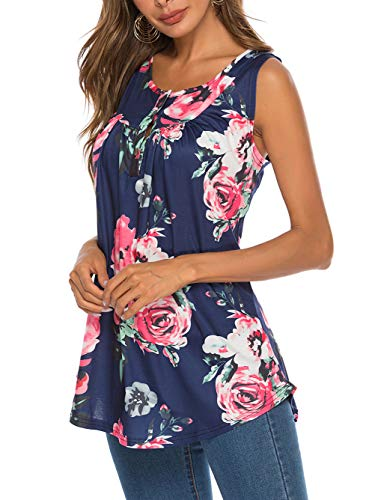 Famulily Tops for Women, Summer Sleeveless Scoop Neck Loose Fit Comfy Flattering Tshirt Top Navy Meidum