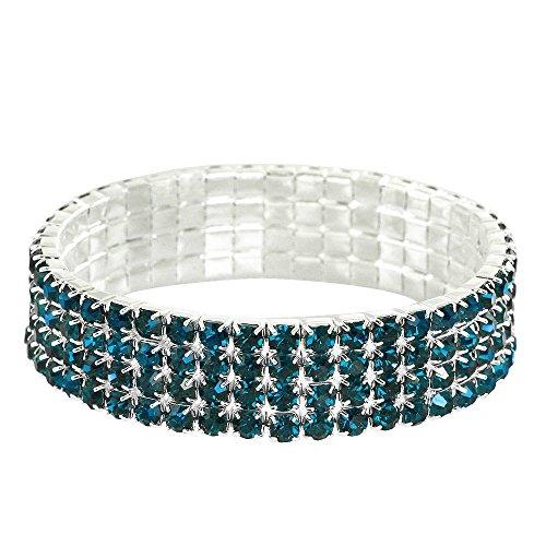 Falari Rhinestone Crystal Stretch Bracelet Sparkle Wedding Bridal 4 Rows Blue Zircon