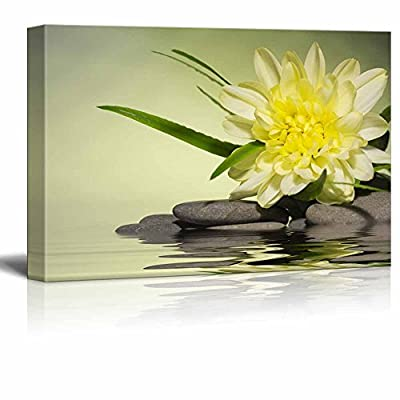 Yellow Flower and Smooth Stones Spa Beauty Wellness Concept Retro Style - Canvas Art Wall Art - 12