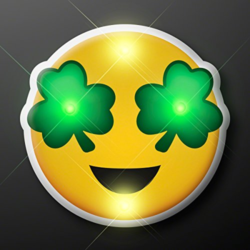 Green Irish Shamrock Eyes Emoji Light Up Flashing LED Lapel Pins (Set of 5)