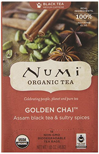 Numi Organic Tea -- Golden Chai Spiced Full Leaf Black Tea -- Premium Assam Black Tea Blended with Chai Spices -- 18 Count Tea Bag 1.65 oz Organic Golden Ginger Tea
