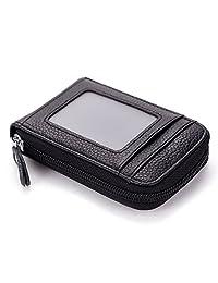 Mini Blocking Leather Wallet ID Credit Cards Case Holder Organizer Purse (Black)