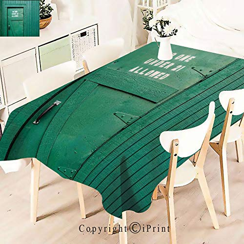 Modern Decor Tablecloth, Monochrome Vintage Local Iris Pub Rustic,Graphic Fusion Artwork, Dining Room Kitchen Rectangular Table Cover,W55 xL71,Teal ()