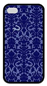 Blue Patterns TPU Black Case for iphone 4S/4