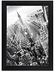 FRAMO 35 mm fotolijst DIN A0 (84,1 x 118,9 cm afbeelding), kleur: zwart mat, handgemaakt MDF-frame met anti-reflecterend kunstglas, lijstbreedte: 35 mm, buitenmaat: 89,9 x 124,7 cm