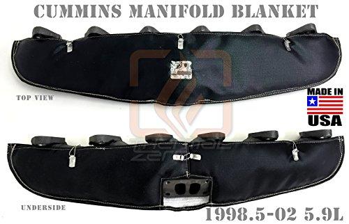 BLACK TURBO MANIFOLD BLANKET FOR 12V AND 24V 1999-2002 DODGE RAM 2500 AND 3500 5.9 CUMMINS DIESEL Holds 2400 degrees. MADE IN USA - MB9902CD-B