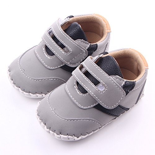 Lidiano Baby Boy Toddler Dull Polish Breathable Non Slip Rubber Sole Sneakers 0-18 Months (6-12 Months, Grey)