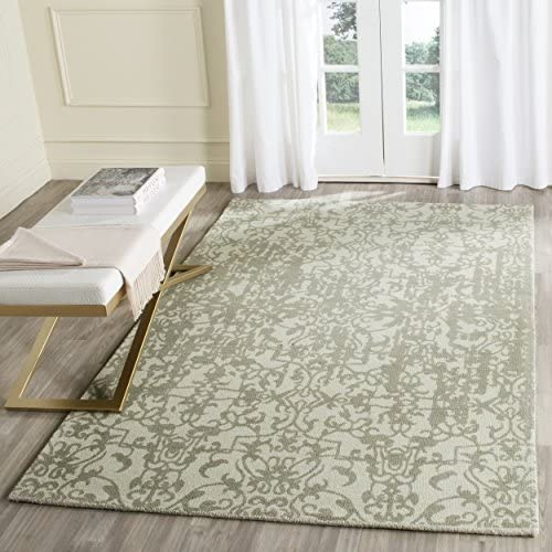 Safavieh Restoration Vintage Collection RVT101D Handmade Light Sage and Grey Wool Area Rug 4' x 6'