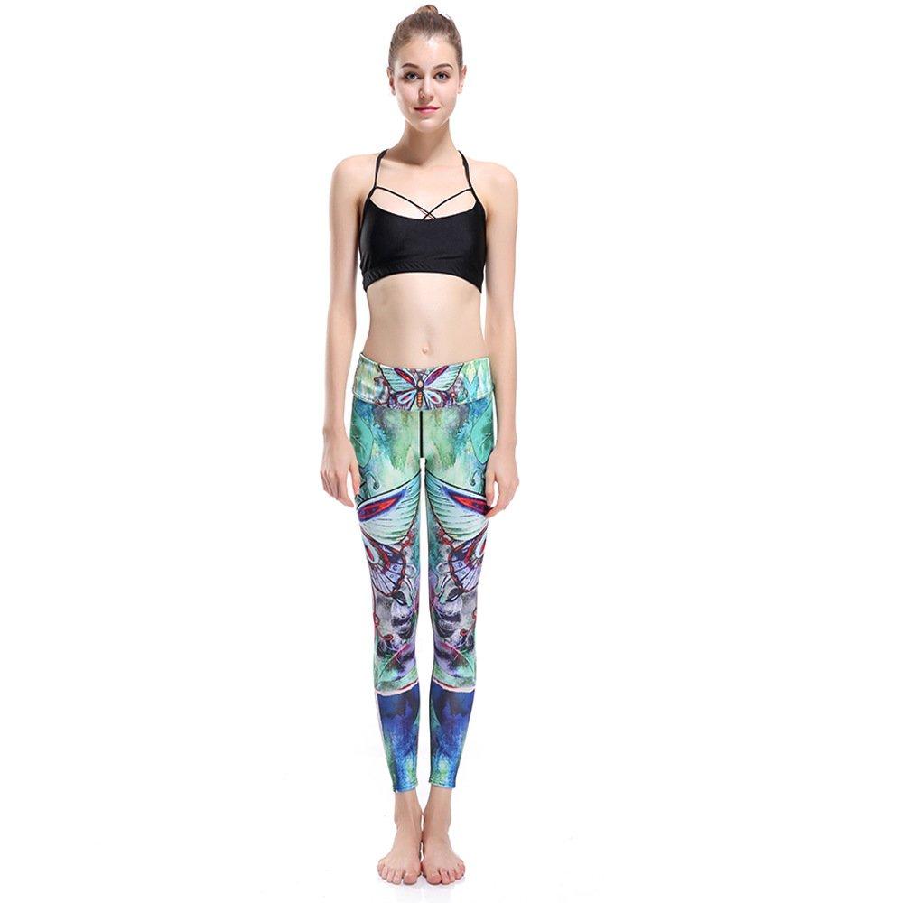 MAOYYMYJK Damen Dünne Hüfte Grün 3D Digitaldruck Atmungsaktive, Schweißabsorbierende Yogahosen Mit Neun Punkten Yoga-Hose für Damen
