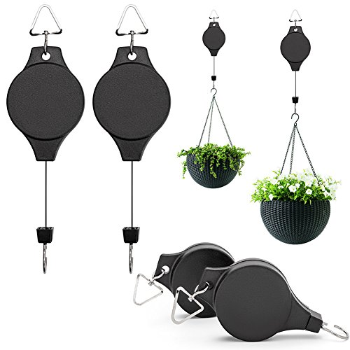 4Pcs Plant Pulley Hanging Basket Hooks, Retractable Pulley Plant Hanger Hanging Flower Basket Hook Hanger Hanging Ferns, Garden Baskets Pots, Birds Feeder Indoor Outdoor Decoration