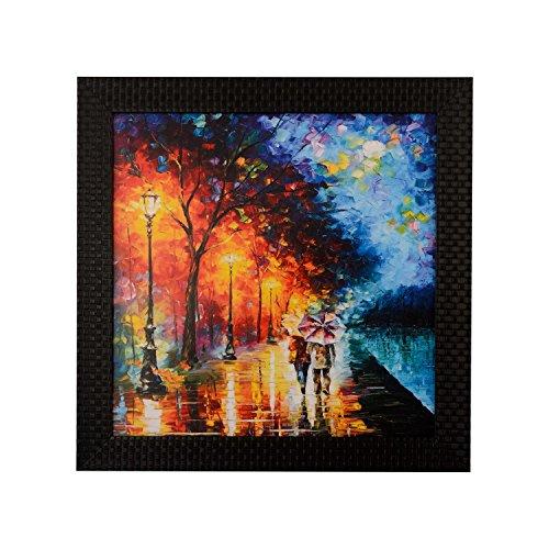 eCraftIndia 'Love Couple Under Umbrella' UV Art Painting (Synthetic Wood, 30 cm x 30 cm, Satin Matt Texture)