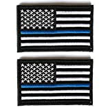 Bundle 2 Pieces - Us Flag Thin Blue Line Patch Decorative Embroidered Appliques 2' High By 3.2' Wide