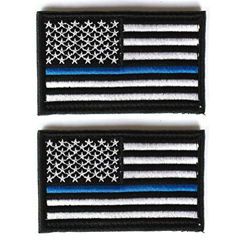 Bundle 2 Pieces - Us Flag Thin Blue Line Patch Decorative Em
