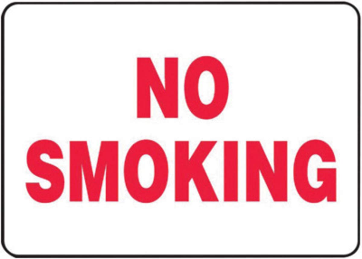 Accuform Signs 10'' X 14'' Red And White 0.040'' Aluminum Smoking Control Sign''NO SMOKING'' With Round Corner