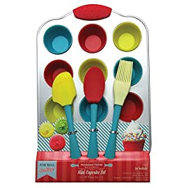 Handstand kitchen 20-piece real mini cupcake baking set with recipes for kids 1 the perfect set for every child that is ready to explore the fun of real baking - the mini cupcake baking set for kids from handstand kitchen complete 20-piece set includes everything you need to bake yummy mini cupcakes with your children comes with 1 spatula, 1 pastry brush, 1 mixing spoon, 12 silicone mini baking cups, 1 metal baking tray, and 4 recipe cards