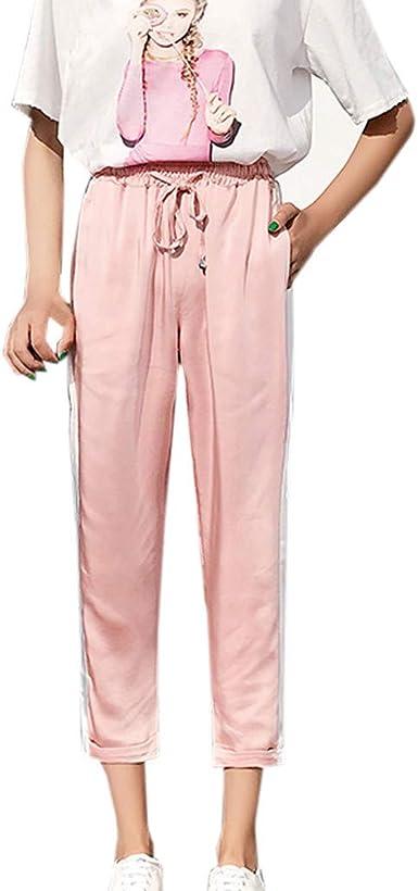 Amazon Com Pasato Pantalones Delgados Para Mujer De Cintura Alta Pantalones Para Mujer Cintura Elastica Rayas Estampados Informales Clothing