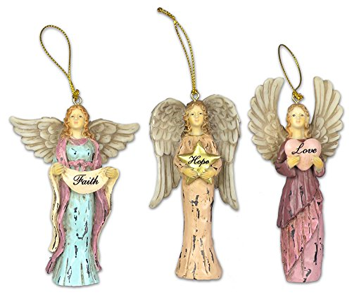 BANBERRY DESIGNS Faith Hope Love Angel Ornaments - Set of 3 Christmas Ornaments - Angel Wing -